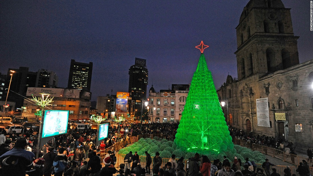 An eco-friendly Christmas tree was installed at the Basilica de San Francisco explanade in La Paz, Bolivia in 2013. Artificial indoor trees are popular -- around 11.5 million bought them in the US alone in 2016.
