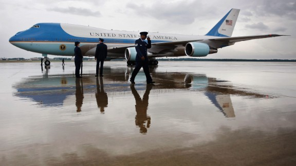 Air Force One on the tarmac at Andrews Air Force Base.
