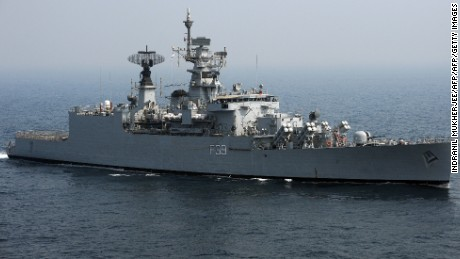 India Navy's frigate INS Betwa pictured during an operational demonstration, some 50 kilometers northeast off Mumbai coast, on November 14, 2011.