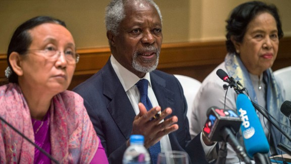 Former UN secretary-general Kofi Annan, head of the nine-member multi-sector advisory commission on Myanmar's Rakhine State, delivers his address at a press conference in Yangon on December 6.
