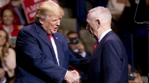 Trump greets retired Marine Gen. James Mattis at a rally in Fayetteville, North Carolina, on Tuesday, December 6. Trump said he would nominate Mattis as his defense secretary.