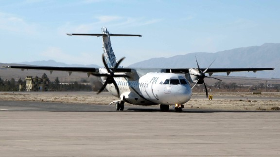 An ATR-42, pictured in 2011, is a twin-engine propeller plane.