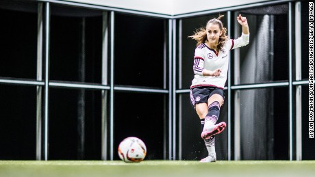 Sara Daebritz of the Germany Women's team attends a Footbonaut training session.