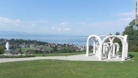 The Virgin Mary statue sits on public land in a park overlooking Lake Geneva.