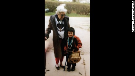 Alex Jinkinson as a child with her grandmother.
