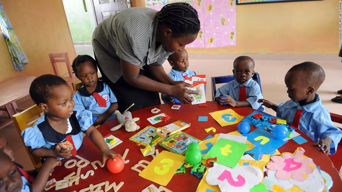 The survey further found 85% of respondents are optimistic about the education that the next generation of Nigerian children will receive.<br /><br />Pictured here, a nursery school teacher uses learning aids at a school in Ibafo district in Ogun State, southwest Nigeria in November 2012.