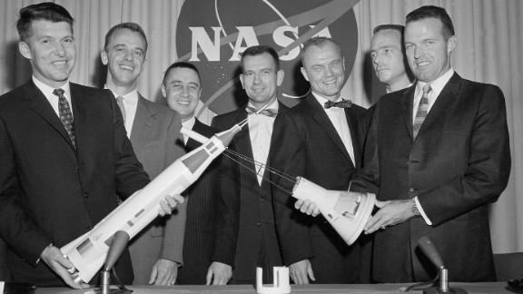 In 1959, NASA selected seven men -- from left, Wally Schirra, Alan Shepard, Gus Grissom, Deke Slayton, Glenn, Scott Carpenter and Gordon Cooper -- as the first US astronauts, known as the Mercury 7.