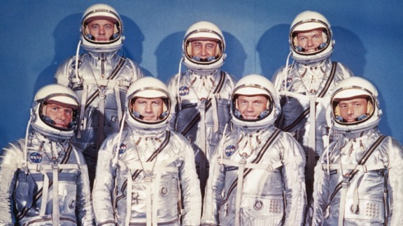 """The astronauts instantly became national heroes and media sensations. Decades later they were immortalized in the Tom Wolfe best-seller """"The Right Stuff"""" and subsequent film."""