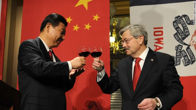 Then-Chinese Vice President Xi Jinping and then-Iowa Governor Terry Branstad raise their glasses in a toast at a state dinner on February 15, 2012 in Des Moines, Iowa.
