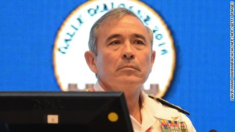 Admiral Harry B. Harris, USN, Commander US Pacific Command attends the international maritime conference, 'Galle Dialogue 2016' in Colombo on  November 28, 2016 Sri Lanka hosts the annual two-day event to share experience of international naval experts with interests in the Indian Ocean region and elsewhere. / AFP / LAKRUWAN WANNIARACHCHI        (Photo credit should read LAKRUWAN WANNIARACHCHI/AFP/Getty Images)