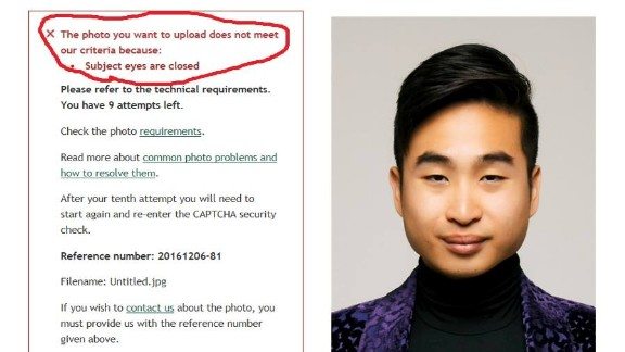 New Zealand's online passport application system couldn't recognize Richard Lee's open eyes.