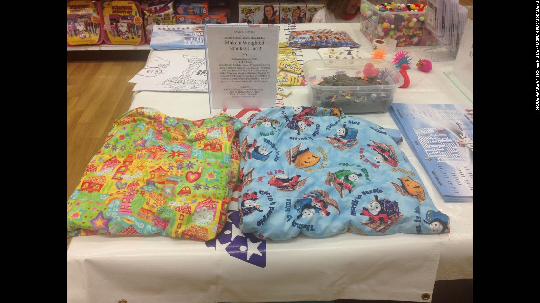Weighted blankets help kids with autism feel comforted and calm, according to Patti Erickson, president of the Greater Philadelphia chapter of the Autism Society.