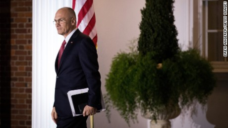 BEDMINSTER TOWNSHIP, NJ - NOVEMBER 19: (L to R) Andrew Puzder, chief executive of CKE Restaurants, exits after his meeting with president-elect Donald Trump at Trump International Golf Club, November 19, 2016 in Bedminster Township, New Jersey. Trump and his transition team are in the process of filling cabinet and other high level positions for the new administration