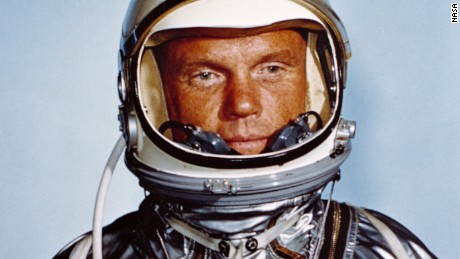 Astronaut John H. Glenn, Jr., in his Mercury flight suit.