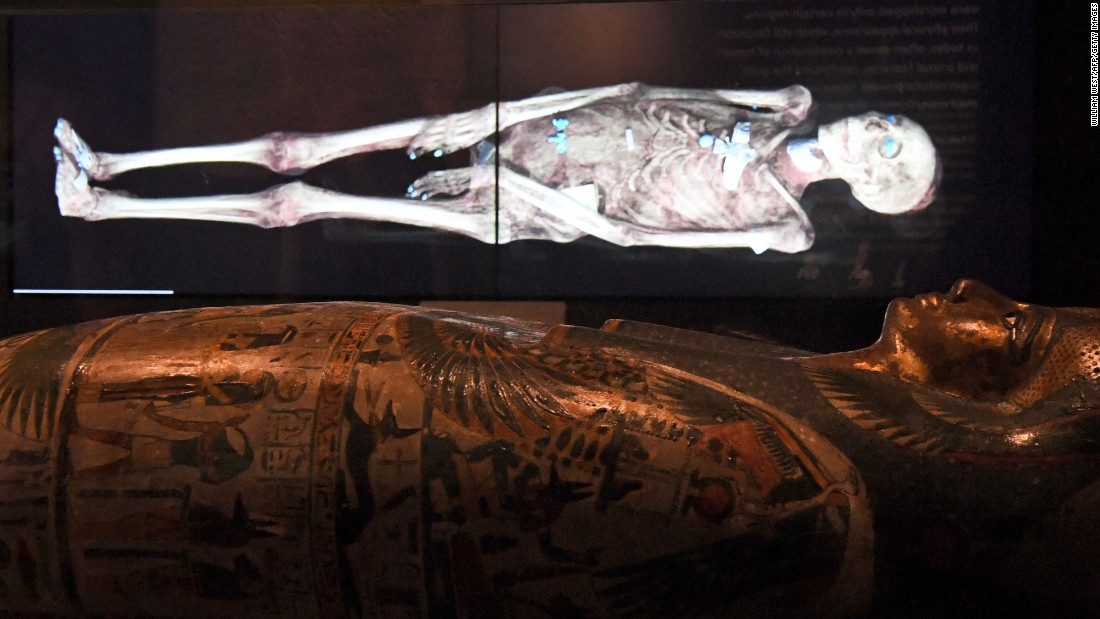 A three-dimensional image of an Egyptian mummy is projected above a sarcophagus in a joint British-Australian exhibition in Sydney on Thursday, December 8. The three-dimensional images of six ancient Egyptian mummies, aged between 900 BC and 140-180 AD, have been held at the British Museum but never physically unwrapped. The images give insight into what it was like to live along the Nile River thousands of years ago.