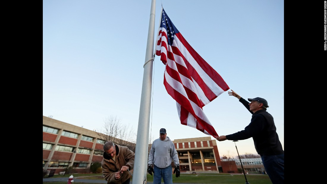"The US flag is raised at Hampshire College in Amherst, Massachusetts, on Friday, December 2. The flag was removed from the campus three weeks ago after the presidential election. After calls, e-mails and protests from people angered by its removal, <a href=""http://www.cnn.com/2016/12/02/us/hampshire-college-american-flag-trnd/"" target=""_blank"">Hampshire College President Jonathan Lash said</a> the school now raises the flag as a symbol of freedom ""and in hopes for justice and fairness for all."""