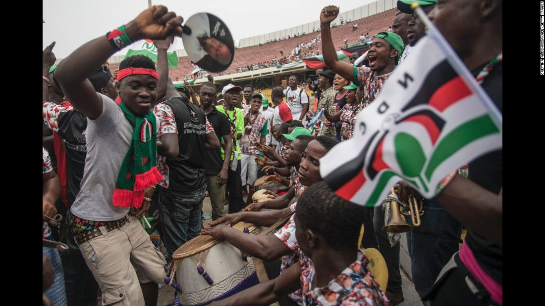"Supporters of the National Democratic Congress dance and sing during a rally in Accra, Ghana, on Monday, December 5, just two days before the country's presidential and parliamentary elections. <a href=""http://www.cnn.com/2016/12/06/africa/ghana-election-distrust/"" target=""_blank"">5 reasons Ghanaians don't trust elections</a>"