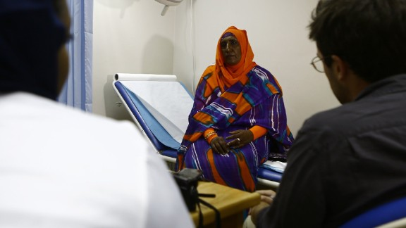 """Geoffrey Siwo, a biologist at IBM Research Africa, says that when people think about Africa, """"they think about infectious diseases like TB or malaria, but the elderly population in Africa is growing and with that comes increased risk of cancer and other non-communicable diseases.""""  Pictured: a breast cancer patient at the Khartoum Breast Care Centre in Sudan, October 2015."""