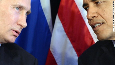 "US President Barack Obama (R) listens to Russian President Vladimir Putin after their bilateral meeting in Los Cabos, Mexico on June 18, 2012 on the sidelines of the G20 summit. Obama and President Vladimir Putin met Monday, for the first time since the Russian leader's return to the presidency, for talks overshadowed by a row over Syria. The closely watched meeting opened half-an-hour late on the sidelines of the G20 summit of developed and developing nations, as the US leader sought to preserve his ""reset"" of ties with Moscow despite building disagreements. AFP PHOTO/Jewel Samad        (Photo credit should read JEWEL SAMAD/AFP/Getty Images)"