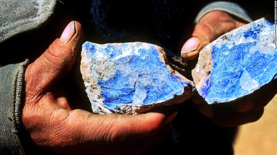 The gemstone Lapis Lazuli is a rare, semi-precious stone known for its intense color largely mined from Afghanistan. Ground into powder it makes ultramarine the finest and most expensive of all blue pigments widely used during the Renaissance in frescoes and oil painting.