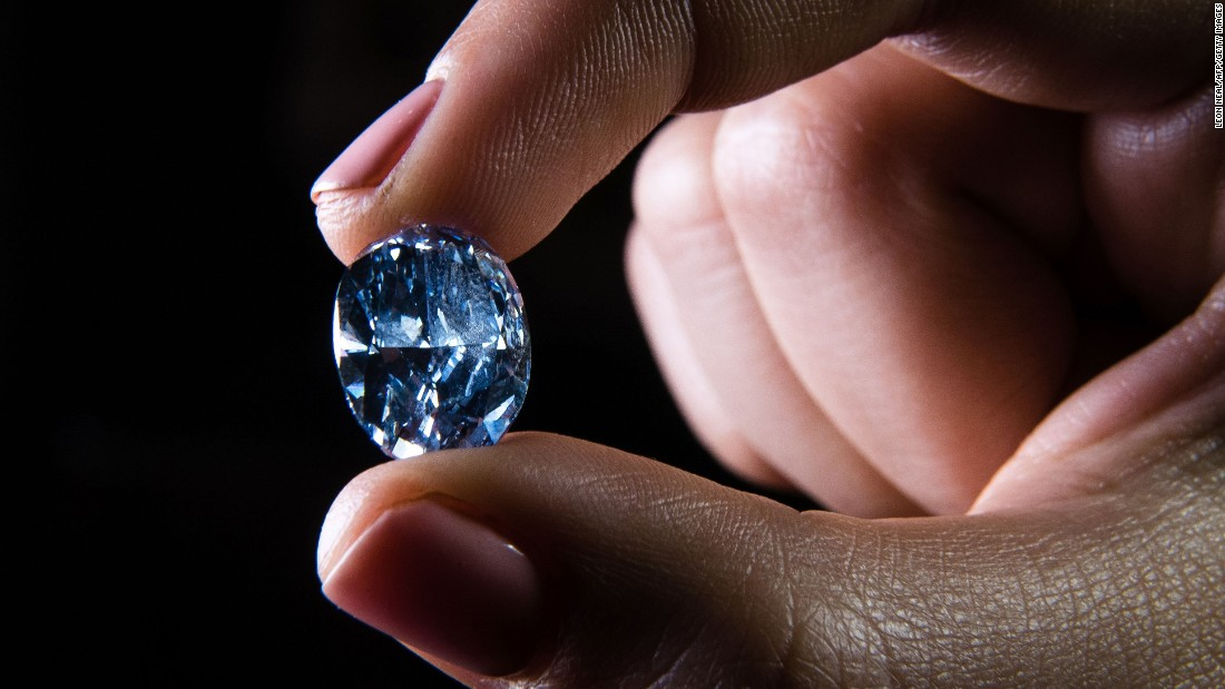 A rare internally flawless blue diamond weighing 10.10 carats, which achieved US$31.8 million at auction which was the highest price ever paid for a jewel at auction in Asia. This this intense blue coloration is a highly valued characteristic which occurs when a trace of Boron is present during a diamond's formation. Only about 1 in every 200,000 diamonds have a slight blue coloration.