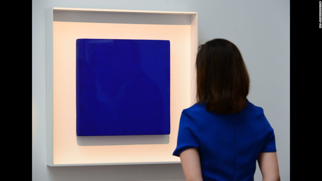 "Yves Klein, a provocative French conceptual artist created and patented his unique and striking pigment which he named ""International Klein Blue"". He used it in a number of monochrome paintings claiming that the color represented the cosmic energy that floats freely in the air."
