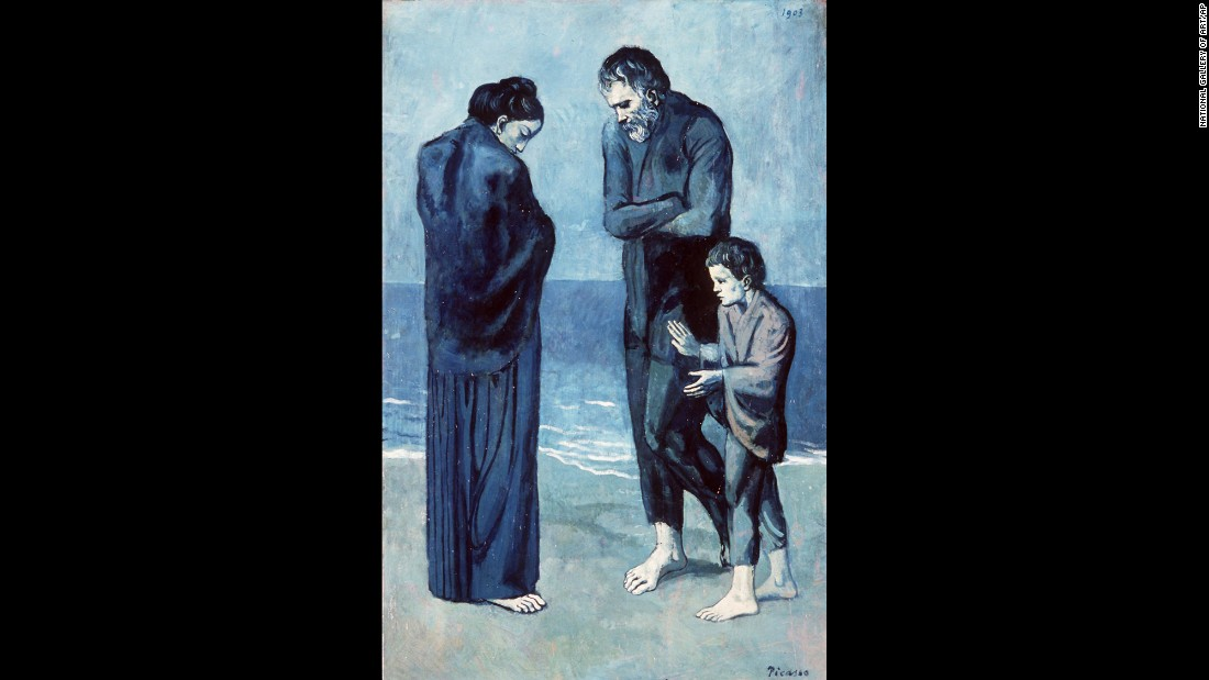 "This painting, titled ""Tragedy"" (1903), of mourners on the beach was part of Picasso's Blue Period which lasted from 1900 to 1904. This was a time when Picasso was journeying through in Spain in relative poverty and had little artistic success, moreover his close friend Carlos Casagemas took his own life. The monochromatic blue palette are often associated with melancholy and despair."