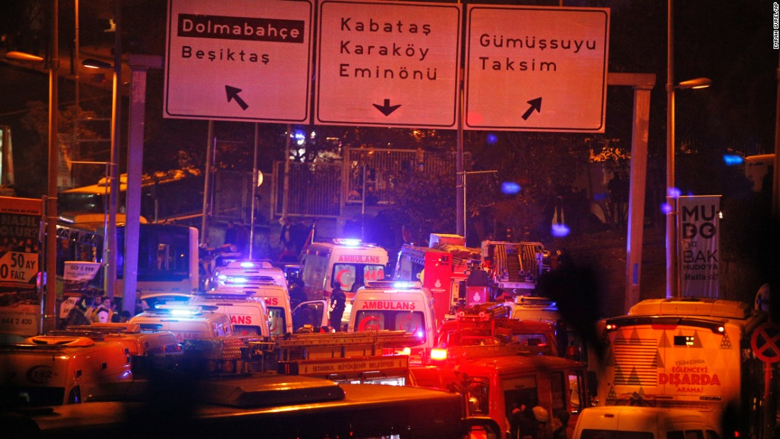 Rescue services rush to the scene of the explosions near the Besiktas football club stadium.