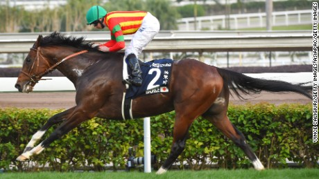 Ryan Moore rides Maurice to victory in the Longines Hong Kong Cup at Sha Tin Racecourse.