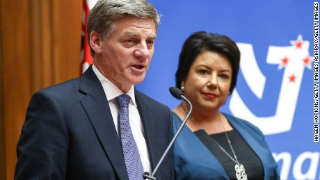 New Zealand's incoming Prime Minister Bill English and deputy Paula Bennett speak to media during a press conference at Parliament on December 12, 2016 in Wellington, New Zealand.