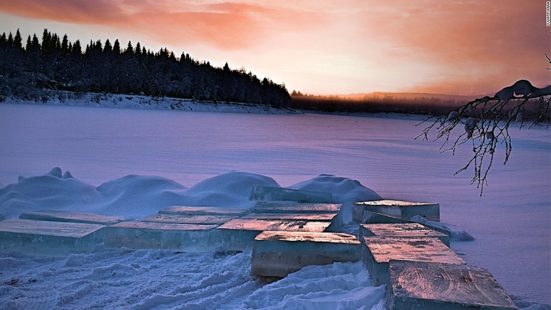 It takes two months to complete the hotel, which is made out of ice blocks taken from a nearby river. There are only a few hours of daylight during the winter in Lapland, but the region does boast spectacular skies.