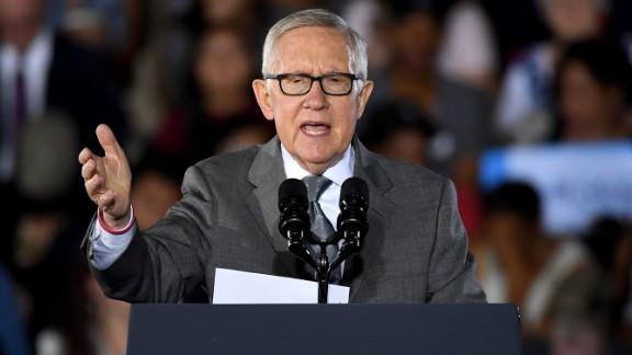 Senate Minority Leader Harry Reid speaks at a rally on October 23, 2016, in North Las Vegas, Nevada.