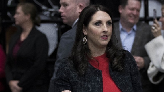 Michigan Republican Party Chair Ronna Romney McDaniel exits the stage after speaking ahead of President-elect Donald Trump at the DeltaPlex Arena, December 9, 2016 in Grand Rapids, Michigan. President-elect Donald Trump is continuing his victory tour across the country. (Photo by Drew Angerer/Getty Images)