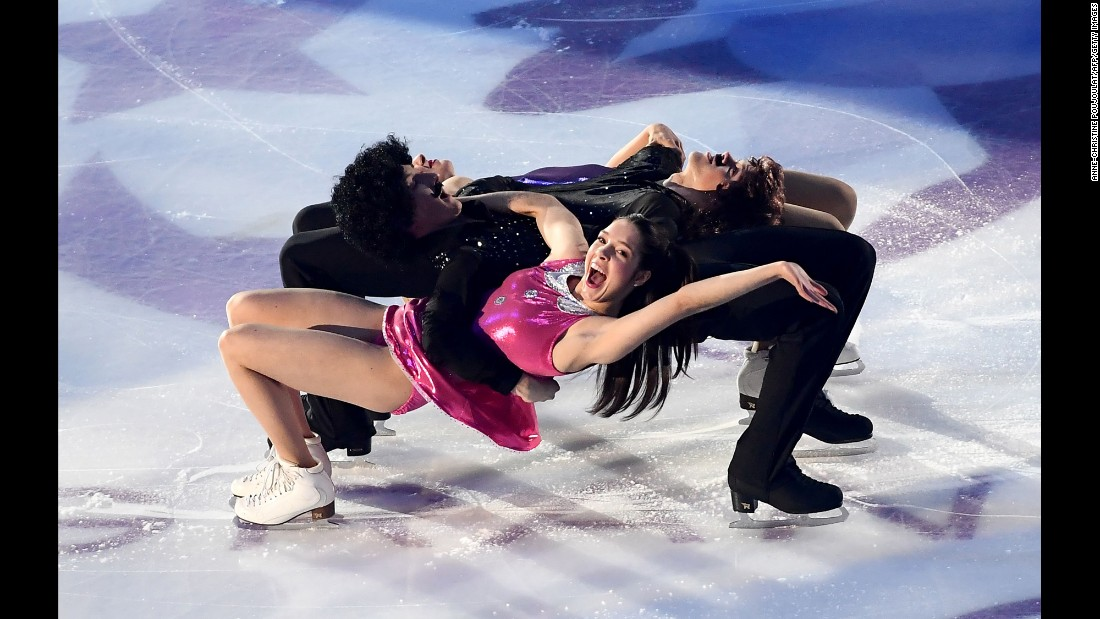 American ice dancers Lorraine McNamara, Quinn Carpenter, Michael Parsons and Rachel Parsons perform during an exhibition gala in Marseille, France, on Sunday, December 11.