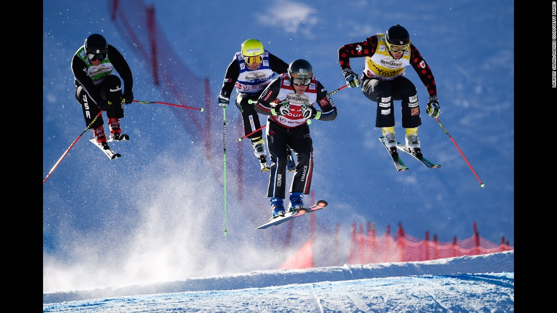 Skiers race during a World Cup event in Val Thorens, France, on Saturday, December 10.
