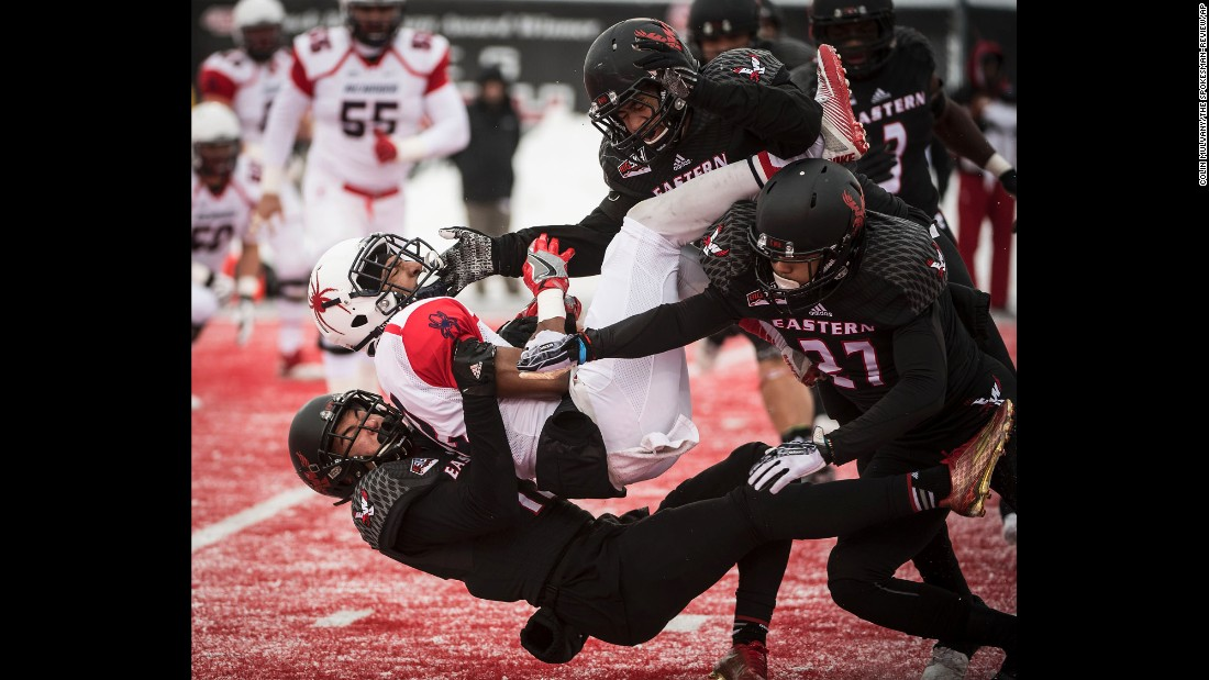 Richmond wide receiver Brian Brown is tackled during a FCS playoff game at Eastern Washington on Saturday, December 10. Eastern Washington won 38-0 to advance to the semifinals.