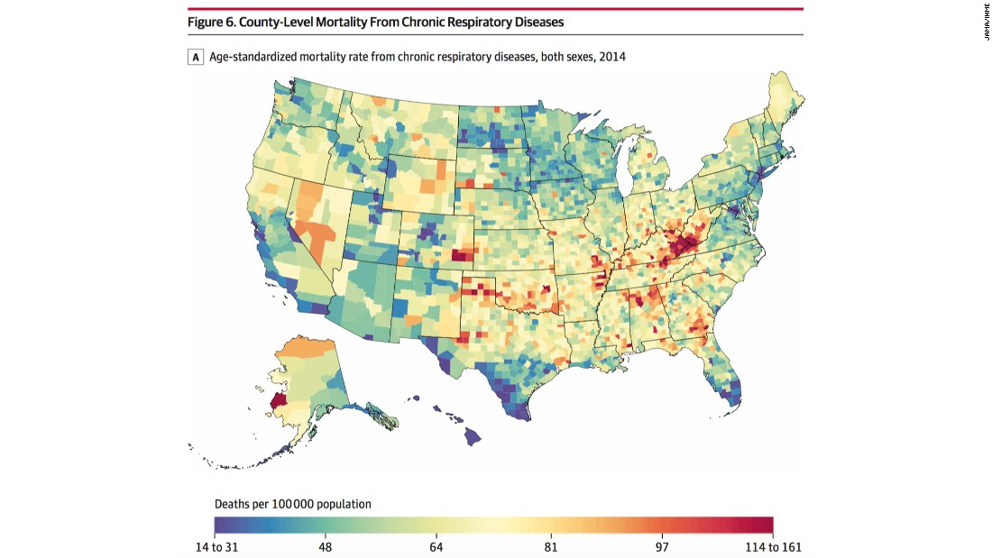 Increased mortality rates due to chronic respiratory diseases were observed in counties in eastern Kentucky, West Virginia, and southeastern Colorado.