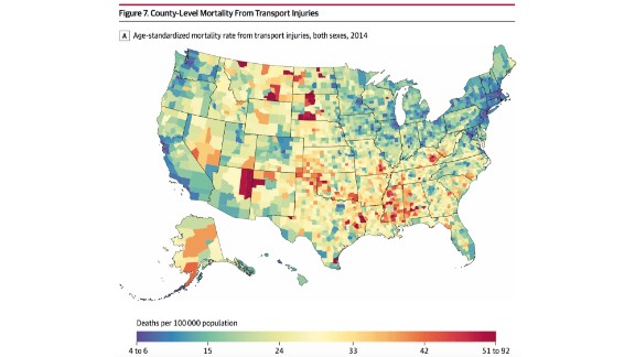 High mortality rates for transportation-related injuries were found in rural counties, such as Todd County, South Dakota.