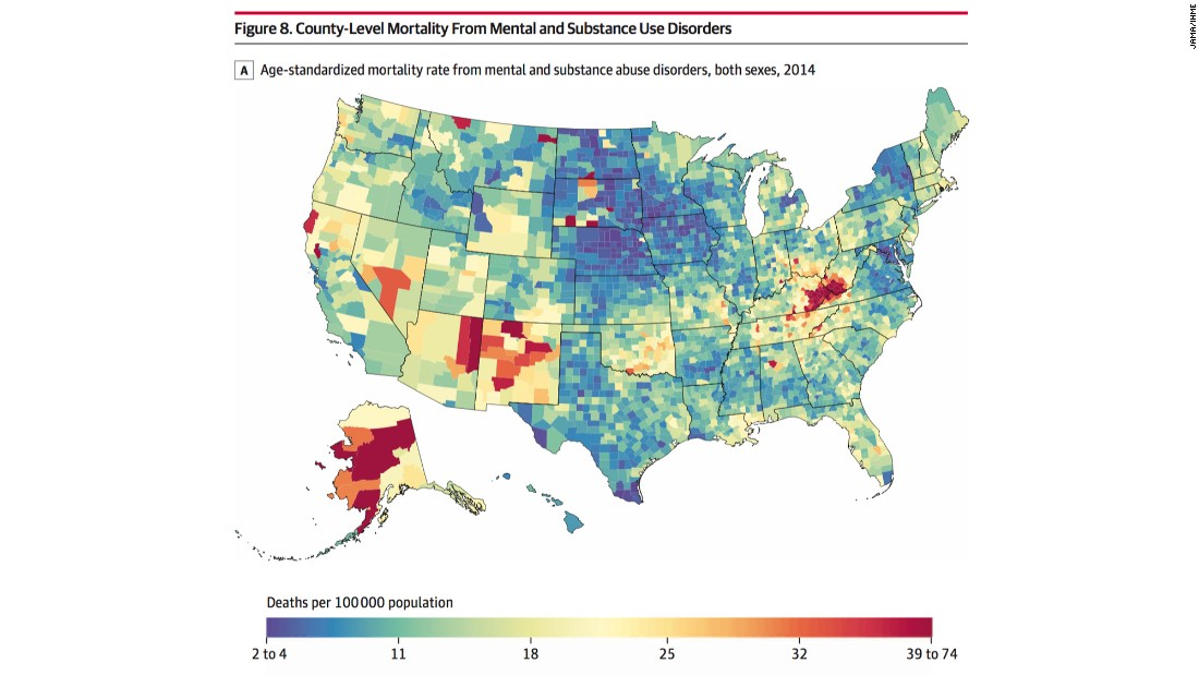 Counties in Kentucky, West Virginia, Ohio, Indiana, western Pennsylvania and east-central Missouri saw mortality rates rise for deaths due to mental and substance use disorders.