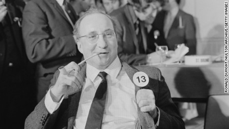 English civil servant Harold Hancock, winner of the ?1000 prize money at the Pipe Smoking Championships being held at the Royal Festival Hall, London, 5th January 1972. (Photo by Ronald Dumont/Daily Express/Hulton Archive/Getty Images)