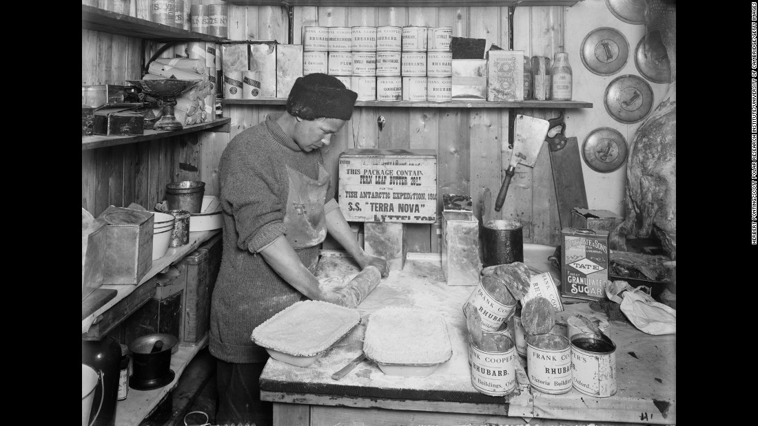 Thomas Clissold makes pies at Scott's base camp in January 1912. But when it came to food, Amundsen's team was more prepared. They had actually gained weight by the end of their journey.