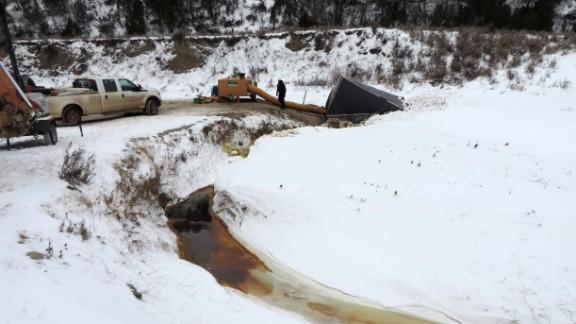 Officials estimate 4,200 barrels of crude oil have leaked.