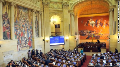 View of the Colombian Congress' house of Representatives during a session to endorse the new peace agreement signed between the government and the FARC, in Bogota, on November 30, 2016.  Colombia's Congress is debating the government's controversial revised peace deal to end a half-century conflict with leftist FARC rebels after last month voters surprisingly snubbed an earlier version of the accord in a referendum. Now the government hopes to implement a revised accord through its majority in the legislature. / AFP / GUILLERMO LEGARIA        (Photo credit should read GUILLERMO LEGARIA/AFP/Getty Images)