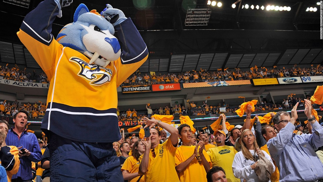 Gnash, sporting a set of fangs, fires up the home crowd.