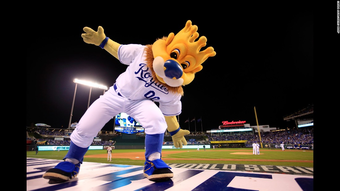 Baseball royalty Sluggerrr helps cheer on the home team during the 2014 World Series.