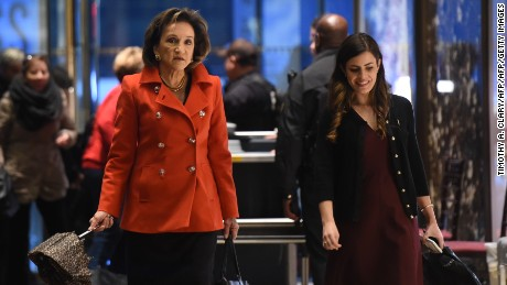 Marion C. Blakey,President and Chief Executive Officer of Rolls-Royce, flanked by a presidential transition team aide Madeleine Westerhout, arrives at Trump Tower during another day of meetings with President-elect Donald Trump on November 29, 2016 in New York.