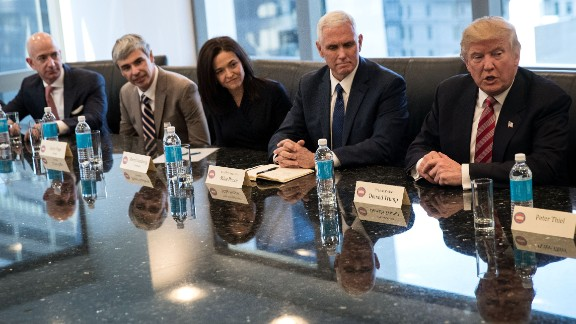 Trump meets with technology executives in New York on Wednesday, December 14. From left are Jeff Bezos, chief executive officer of Amazon; Larry Page, chief executive officer of Google's parent company Alphabet; Sheryl Sandberg, chief operating officer of Facebook; and Vice President-elect Mike Pence. The three main areas discussed were jobs, immigration and China, according to a source briefed on the meeting.