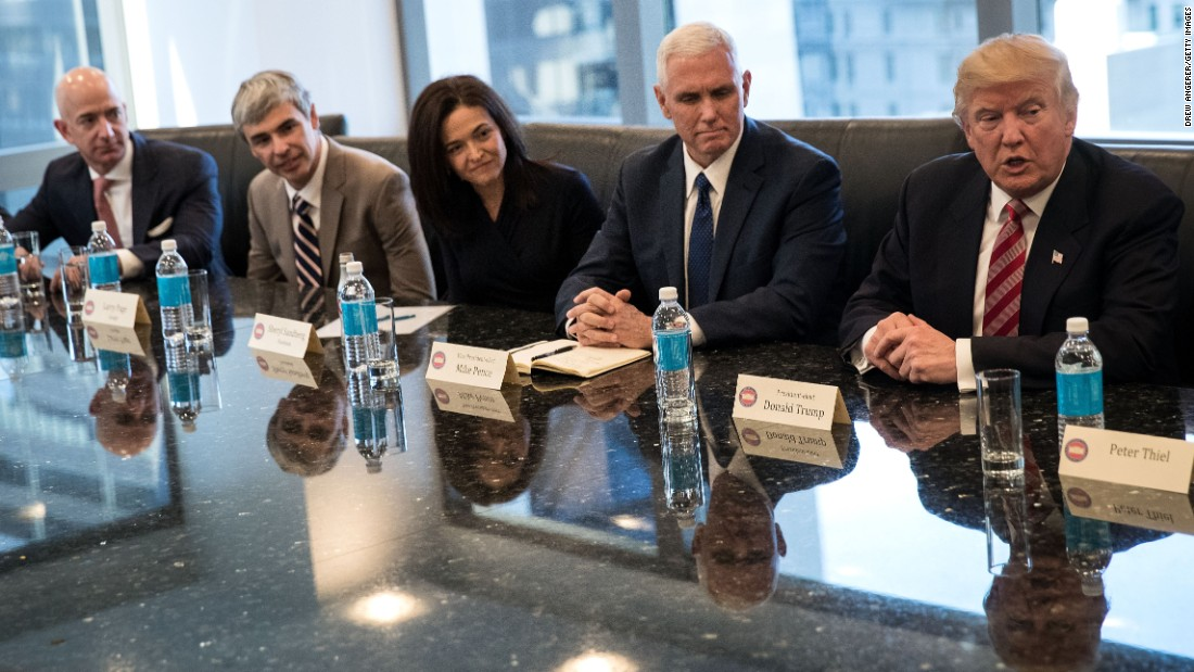 "Trump <a href=""http://money.cnn.com/2016/12/14/technology/trump-tech-summit-silicon-valley/"" target=""_blank"">meets with technology executives</a> in New York on Wednesday, December 14. From left are Jeff Bezos, chief executive officer of Amazon; Larry Page, chief executive officer of Google's parent company Alphabet; Sheryl Sandberg, chief operating officer of Facebook; and Vice President-elect Mike Pence. The three main areas discussed were jobs, immigration and China, according to a source briefed on the meeting."