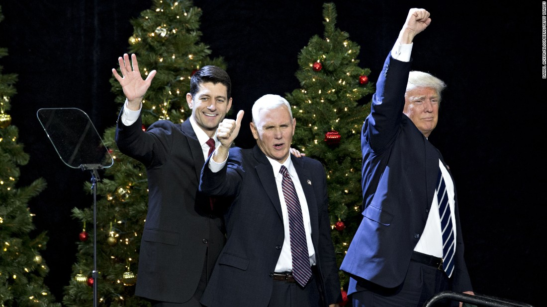 "Trump, Pence and House Speaker Paul Ryan wave during an event in West Allis, Wisconsin, on Tuesday, December 13. ""He's like a fine wine,"" Trump said of Ryan at <a href=""http://www.cnn.com/2016/12/13/politics/donald-trump-paul-ryan-wisconsin-thank-you-tour/"" target=""_blank"">the rally,</a> which was part of his ""thank you"" tour to states that helped him win the election. ""Every day that goes by, I get to appreciate his genius more and more."""