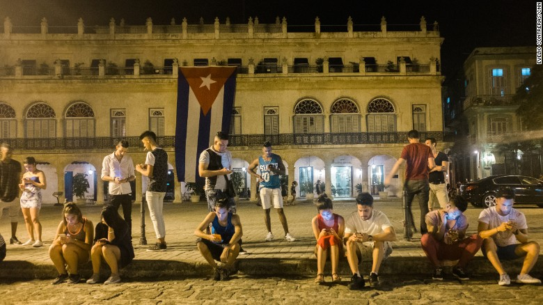Public Wi-Fi spots, such as this one in 2016 outside the Santa Isabel Hotel in Havana, have become popular gathering places.